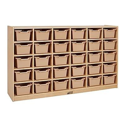 ECR4Kids Birch 30 Cubby Tray Cabinet, Sand (ELR-17257F-SD)
