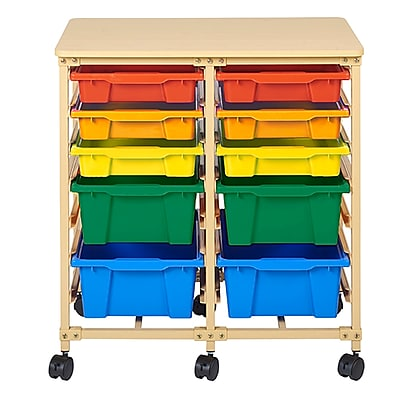 ECR4Kids Mobile Organizer Steel/Plastic/Birch 5-Tray Sand/Assorted (ELR-20310-AS)