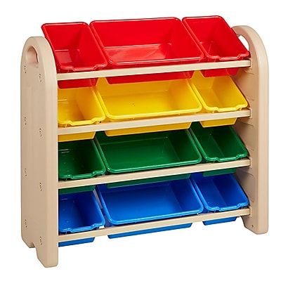 ECR4Kids 4-Tier Storage Organizer Plastic Shelves with Bins Sand/Sand (ELR-20404-AS)