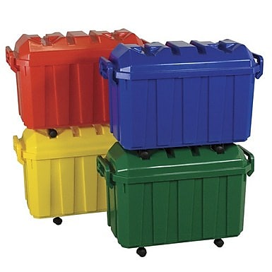 ECR4Kids Stackable Storage Trunk, Green/4 Pack (ELR-0659-GN)