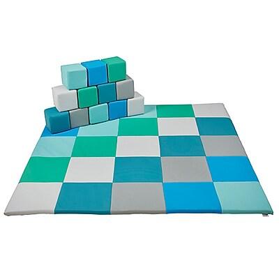 ECR4Kids SoftZone® Patchwork Toddler Mat & 12 Piece Block Set, Contemporary (ELR-0215F-CT)