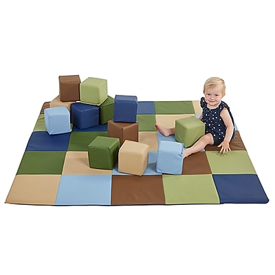 ECR4Kids SoftZone® Patchwork Toddler Mat & 12 Piece Block Set, Earthtone (ELR-0215F-ET)