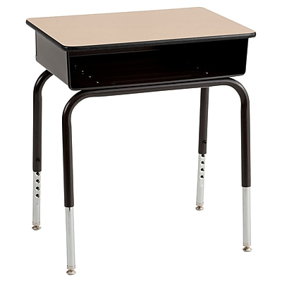 ECR4Kids Open Front Desk with Metal Book Box, Maple/Black/2 Pack (ELR-24101F-MP)