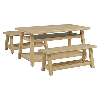 ECR4Kids Sit n' Stash Rectangular Table and Two Benches (ELR-22305)