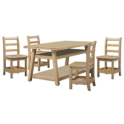 ECR4Kids Sit n' Stash Rectangular Table and Four Chairs (ELR-22307)