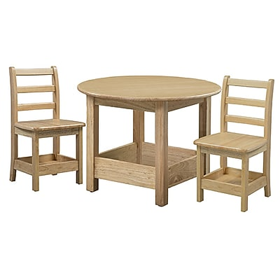 ECR4Kids Sit n' Stash Round Table and Two Chairs (ELR-22308)