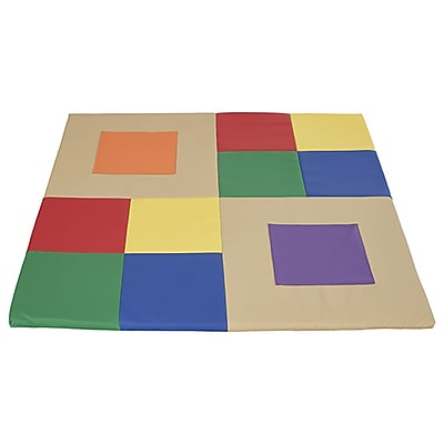 ECR4Kids SoftZone® Squares n' Squares Activity Mat, Primary (ELR-12901-AS)