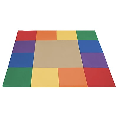 ECR4Kids SofZone® Square Dance Mat, Primary/Sand (ELR-12902-PS)