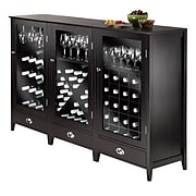 Winsome Bordeaux 3-Pc Modular Wine Cabinet Set, Dark Wood Finish (92359)