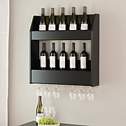 Prepac 2-Tier Floating Wine and Liquor Rack, Black (BSOW-0202-1)