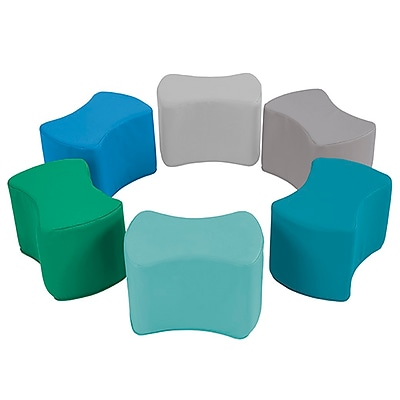 ECR4Kids SoftZone® Butterfly Stool Set, 6-Piece, Contemporary (ELR-12836-CT)