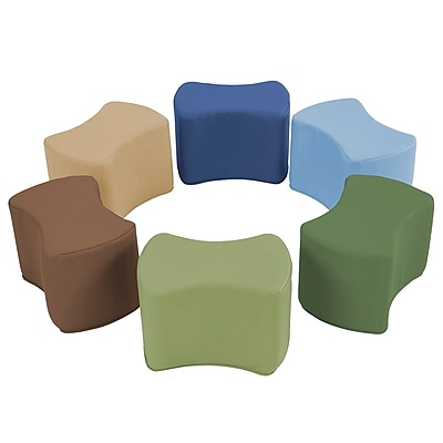 ECR4Kids SoftZone® Butterfly Stool Set, 6-Piece, Earthtone (ELR-12836-ET)
