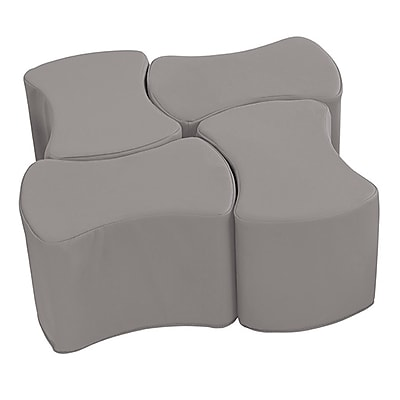 ECR4Kids SoftZone® Butterfly Stool Set, 4-Pack, Grey (ELR-12837-GY)