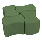 ECR4Kids SoftZone® Butterfly Stool Set, 4-Pack, Hunter Green (ELR-12837-HG)