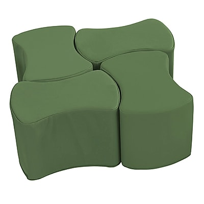 ECR4Kids SoftZone® Butterfly Stool Set, 4-Pack, Hunter Green (ELR-12837-HG)