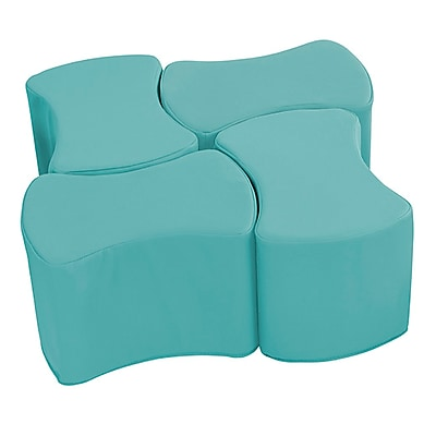 ECR4Kids SoftZone® Butterfly Stool Set, 4-Pack, Turquoise (ELR-12837-TQ)