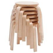 ECR4Kids Bentwood Stools, 6-Piece Set, Natural (ELR-15514-NR)