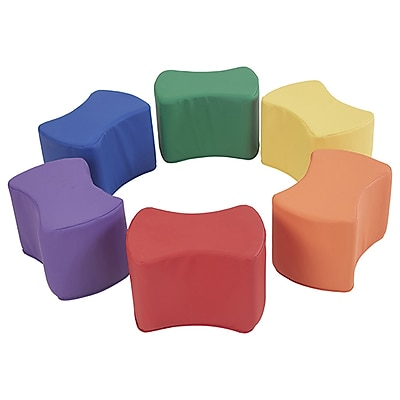 ECR4Kids SoftZone® Butterfly Stool Set, 6-Piece, Primary (ELR-12836-AS)