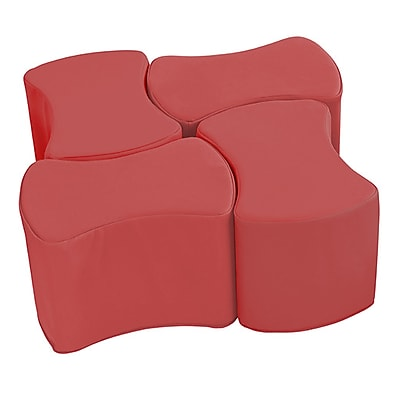 ECR4Kids SoftZone® Butterfly Stool Set, 4-Pack, Red (ELR-12837-RD)
