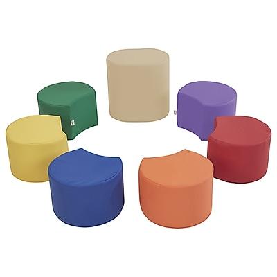 ECR4Kids SoftZone® Crescent Stool Set with Teacher Stool, 7-Piece, Assorted (ELR-12838-AS)