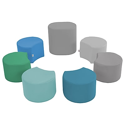 ECR4Kids SoftZone® Crescent Stool Set with Teacher Stool, 7-Piece, Contemporary (ELR-12838-CT)