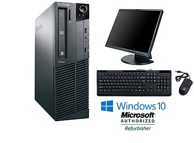 "Refurbished Lenovo M91 Sff Intel Core I5 2400 3.1Ghz 8GB Ram 500GB Hard Drive DVD Windows 10 Pro Bundled With A 19"" Lcd Monitor"