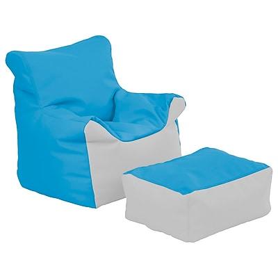 ECR4Kids SoftZone® Bean Bag Chair and Ottoman Set, French Blue/Light Grey (ELR-12803-FBLG)