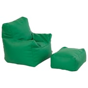ECR4Kids SoftZone® Bean Bag Chair and Ottoman Set, Green (ELR-12803-GN)