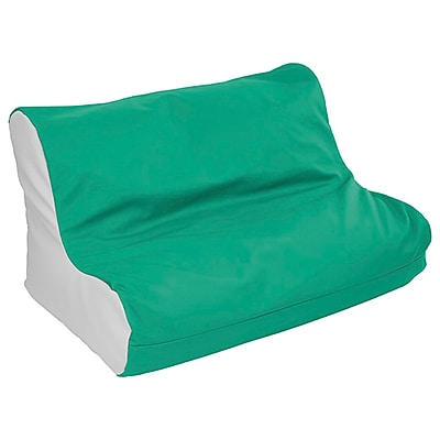 ECR4Kids SoftZone® Twin Youth Bean Bag Soft Seat, Emerald/Light Grey (ELR-15662-EMLG)