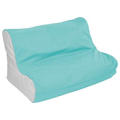 ECR4Kids SoftZone® Twin Youth Bean Bag Soft Seat, Turquoise/Light Grey (ELR-15662-TQLG)
