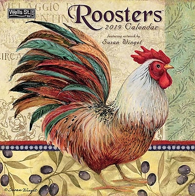 """2019 LANG 6.65"""" x 3.5"""" Roosters Wall Calendar (19997001691)"""