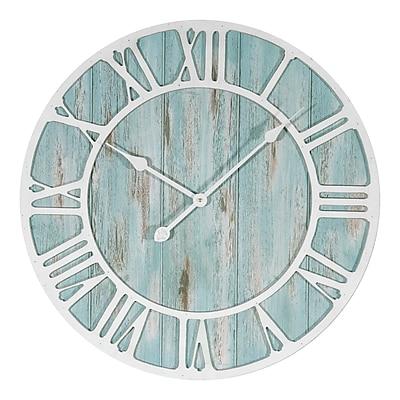 La Crosse Clock 23.5 Inch Round Blue Coastal Decorative Quartz Wall Clock (404-4060)