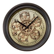 La Crosse Clock 13 Inch Round Bronze Metal Analog Clock with Working Gears (BBB85289)