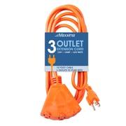 Maxxima 10 Foot 16 Gauge PVC Orange Heavy Duty Extension Cord, 3-Outlets (MEW-EC3100)