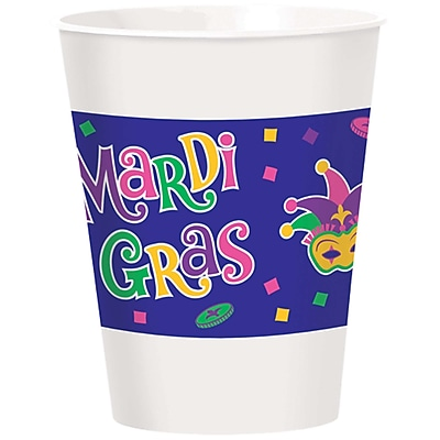 """""Amscan Mardi Gras Cups 16 oz. Plastic Cups 4.75"""""""" x 3.8"""""""" Pack of 2, 25 Per Pack (423504)"""""" 24306999"