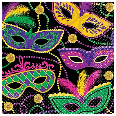 """""Amscan Mardi Gras Masks Paper Lunch Napkins, 6.5"""""""" x 6.5"""""""", Paper, Pack of 5, 16 Per Pack (511901)"""""" 24306995"