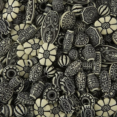 Limited Edition, Old World Bead Mix Black/Ivory 1 Lb, (CF-13770)