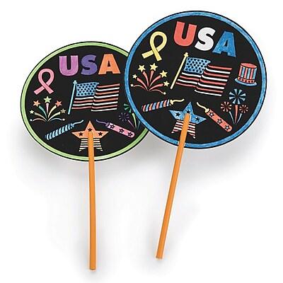 S&S Worldwide, Usa Velvet Art Fan Craft Kit Pk48, (CE4665)