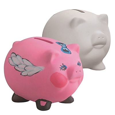 Aurient International Corp, Color Me Piggy Bank Unglazed Pk12, (A-9202-A)
