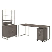 Office by kathy ireland® Method 72W Table Desk with File Cabinets and Hutch, Cocoa, Installed (MTH026COSUFA)