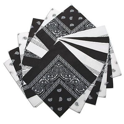 S&S Worldwide, Bandanna White/Black Pk12, (SL1055)