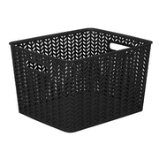 Simplify Herringbone Storage Bin, Large, Black (25175-BLACK)