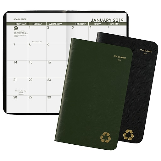 at a glance recycled 2 year pocket planner 24 months january