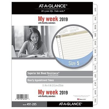"AT-A-GLANCE® Day Runner® Weekly Planner Refill, Loose-Leaf, 12 Months, January Start, 8-1/2"" x 11"" (491-285-19)"