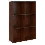 kathy ireland® Office by Bush Furniture Ironworks 6 Cube Bookcase, Coastal Cherry (KI50203-03)