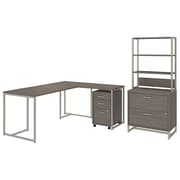 Office by kathy ireland® Method 72W L Shaped Desk with 30W Return, File Cabinets and Hutch, Cocoa (MTH027COSU)