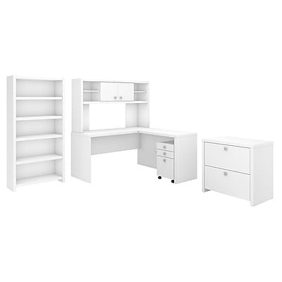Office By Kathy Ireland Echo L Shaped Desk With Hutch Bookcase And
