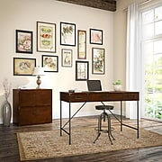 kathy ireland® Home by Bush Furniture Ironworks 48W Writing Desk and Lateral File Cabinet, Coastal Cherry (IW003CC)