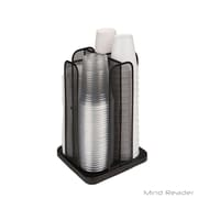 Mind Reader 'Totem' 4 Cup and Lid Carousel Holder Organizer, Black Metal Mesh (CDISPMESH-BLK)