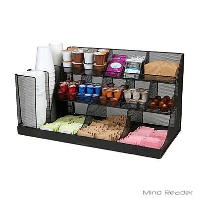 Mind Reader CMG2MESH-BLK 14 Compartment 3 Tier Large Breakroom Condiment Organizer, Black Metal Mesh